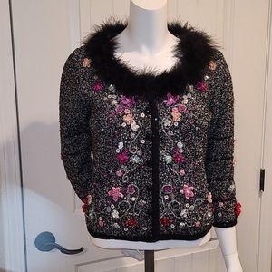 Vintage Berek Floral Embellished Cardigan S